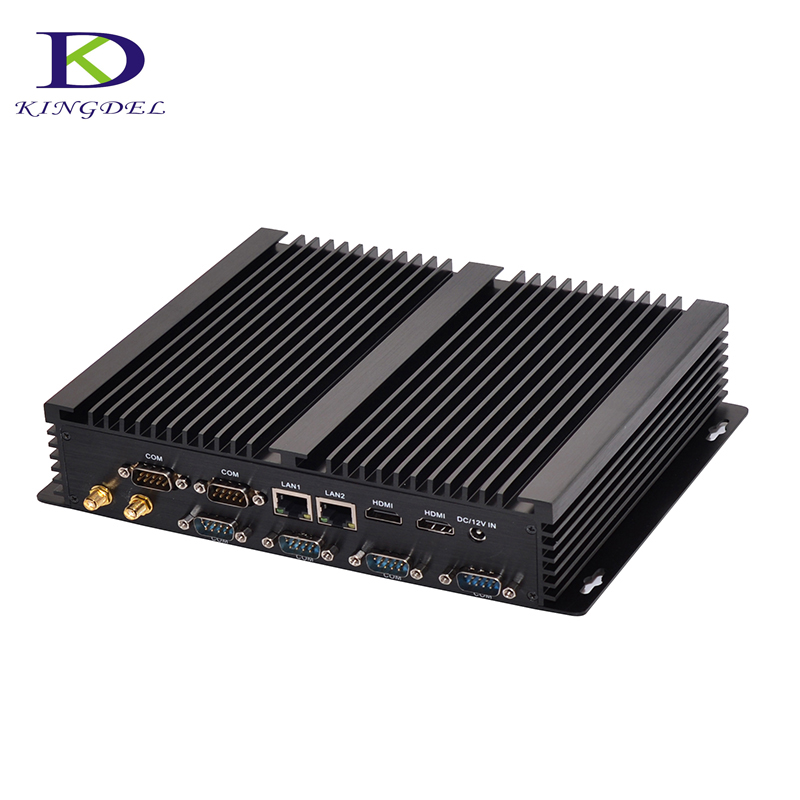 Kingdel Fanless Industrial Mini PC Core i7 5550U 2*Intel Gigabit Lans 6*RS232 8*USB Micro Computer 300M Wifi 2*HDMI Linux Win 10