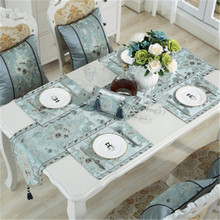 SBB European luxury classical  embroidered table flag silk like Table Runner Tablecloth Embroidered Runners Dinner Mats