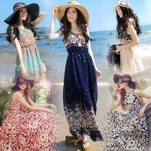 Korean bohemian long dress sleeveless floral large swing chiffon dress seaside holiday beach dress Cotton Chiffon Print