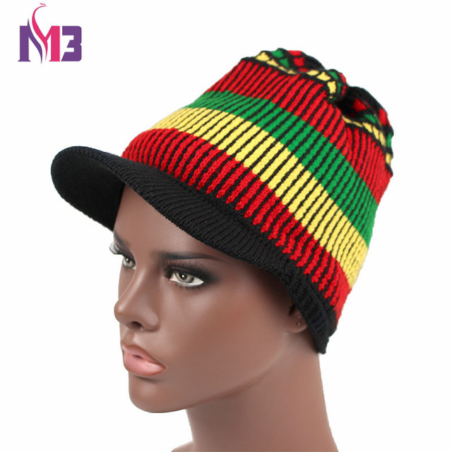 Fashion Unisex Casual Women Men Knitted Visor Rasta Hat Winter Warm Crochet  Hat Jamaican Beanie Cap Bob Marley Rasta Reggae Hat 606196a35bd