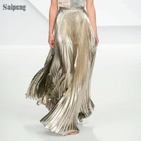 Women Skirt Pleated Skirt High Grade Simulation Silk Elastic Many Colors