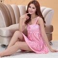 Nightgown For Women Summer Pink Silk Robe Spaghetti Strap Skirt Women's Lounge Nightgowns Sleepshirts 9 Colors