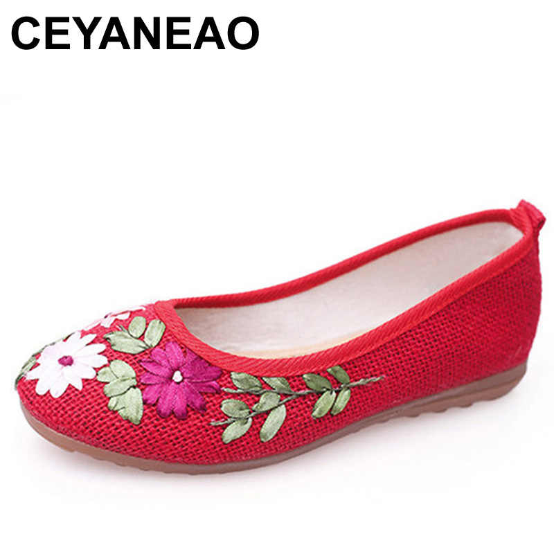 CEYANEAO Free shipping 2018 Women Flower Flats Slip On Cotton Fabric Casual Shoes Comfortable Round Toe Flat Shoes Woman E1204