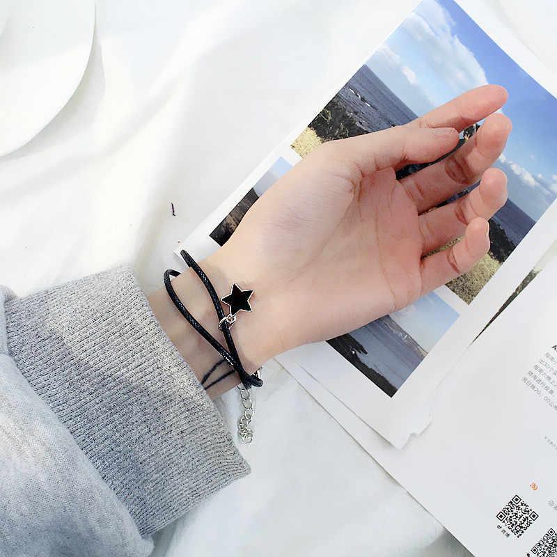 Di modo Star Nero Braccialetti di Corda Per Le Donne Accessori Blu Star Femminile Donna Del Braccialetto E Braccialetti Femme Vintage Catena Coppia B