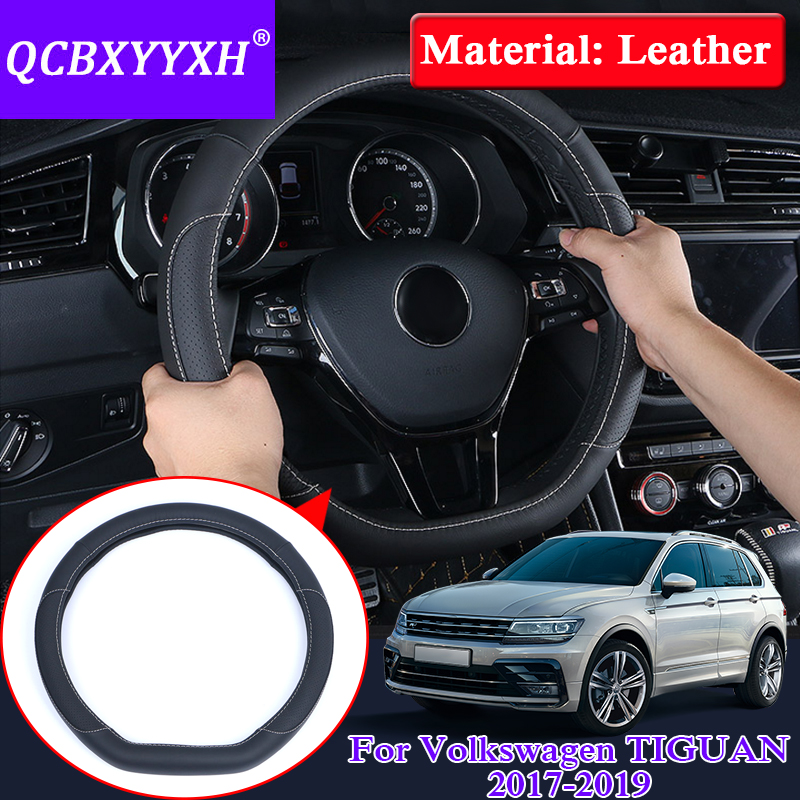 QCBXYYXH For VW TIGUAN 2017-2019 Car Styling Steering Wheels Cover Leather Internal Accessory Steering Wheel Cover