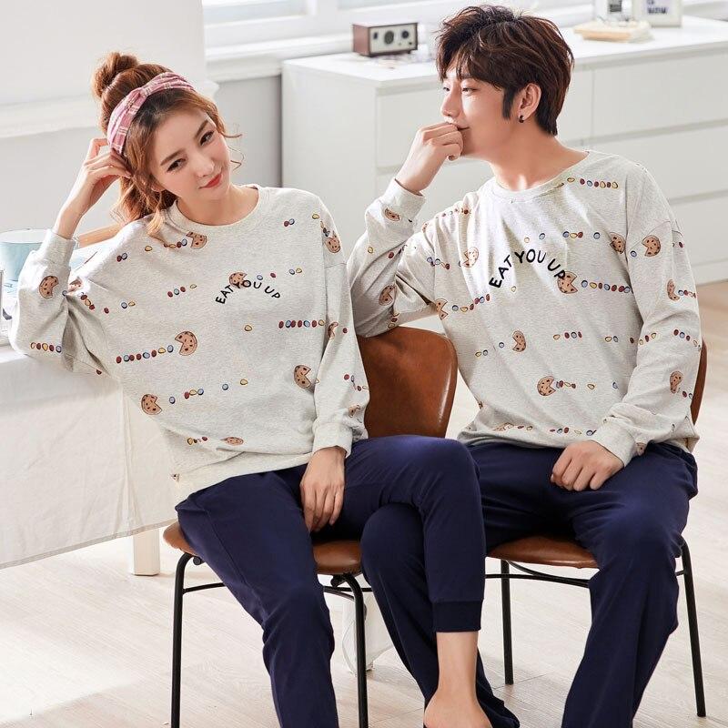 Autumn Knitted Cotton Long Sleeved Pajamas Mujer Women's Pajamas Sets Fashion Couple Sleepwear Men's Lounge 3XL Women's Fashion