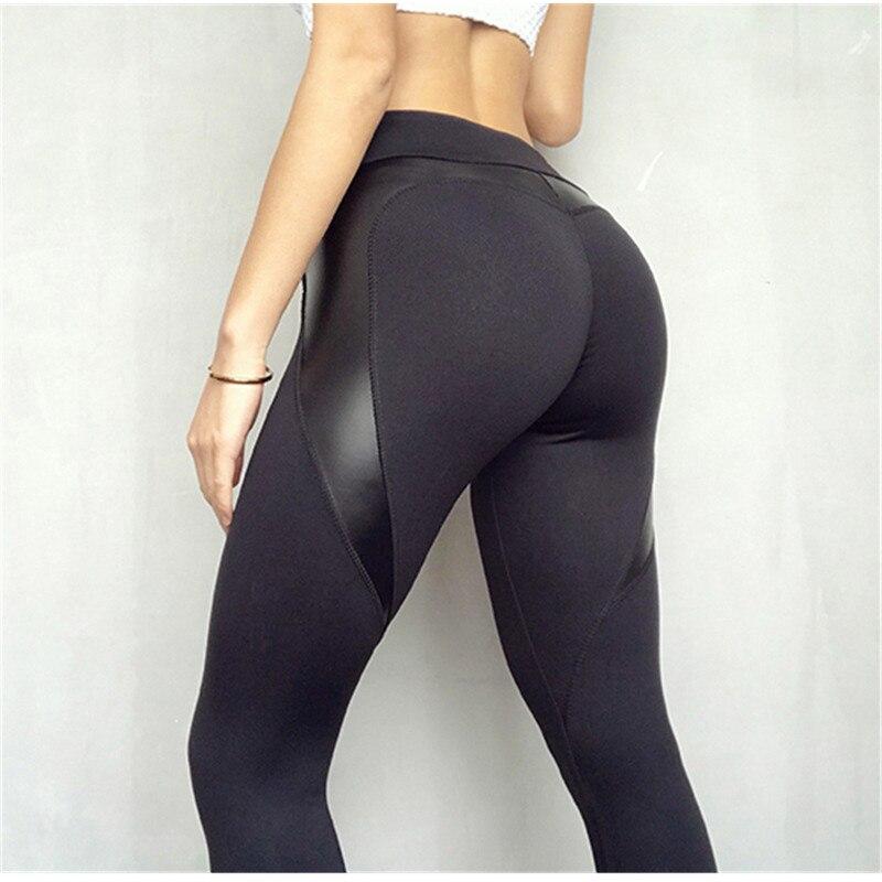 NORMOV Fitness Leggings de cuero Leggings mujeres de cintura alta negro corazón pantalones mantener Delgado moda Push Up leggins gótico Navidad