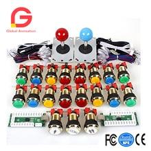 2-Spieler-Arcade-Spiel DIY-Zubehör-Kit für PC und Raspberry Pi 5Pin Joystick und vergoldeten LED-Leuchtdrucktasten