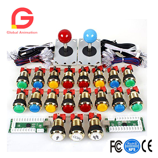 Arcade Game DIY Accessories Kit for PC and Raspberry Pi 5Pin joystick + gilded  LED Illuminated push buttons