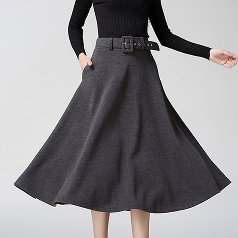 2019 invierno falda de longitud de mezcla de lana cinturón de falda de una  línea de mujeres fajas vestido de cintura alta faldas cremallera negro en  Faldas ... a1431c7550a6