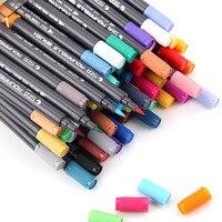 12/24/36/48/80 색상 아트 마커 세트 물 기반 마커 펜 드로잉에 대 한 듀얼 헤드 소프트 브러쉬 아트 펜