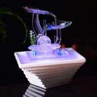 110/220V Glass Fengshui Water Fountain Office Desktop Decoration Crystal Ball Lotus Leaves Atomizer Art Decor Home Purifying Air