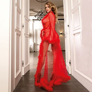 Image 3 - Lace Lingerie Robe Long Sheer Plus Size Sexy Dress Babydolls Women Transparent Dessous Sexy Hot Erotic Underwear With Fur R80759