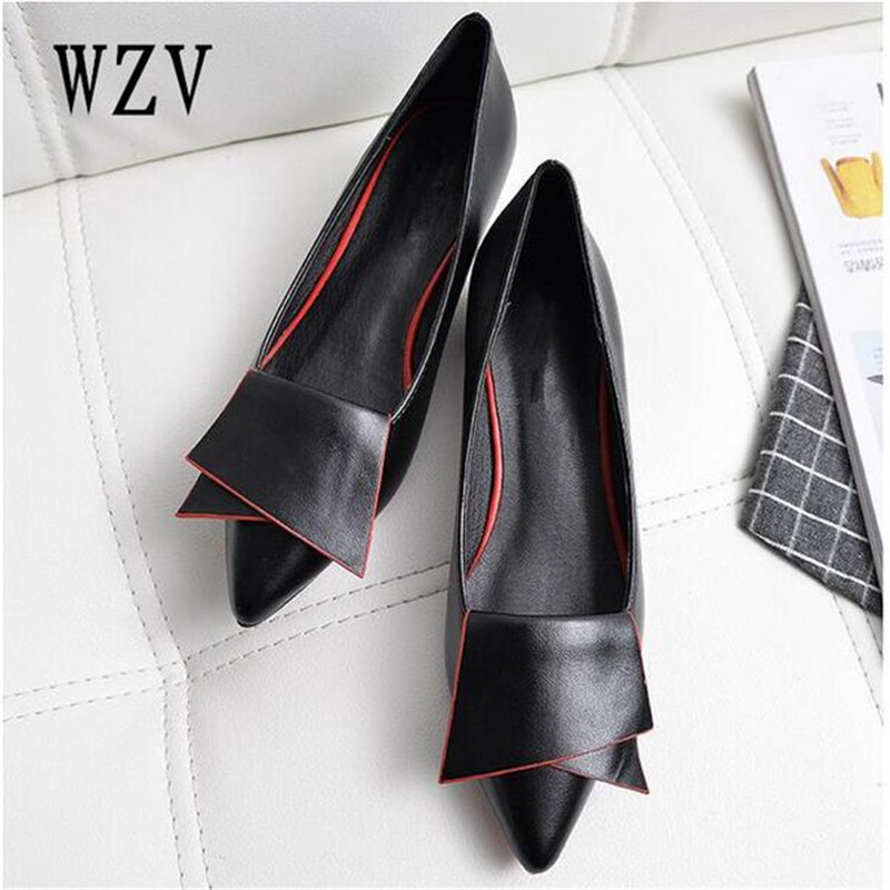 2018 Leather Flat Shoes pointed toe With low Woman Loafers Cowhide Spring Casual Shoes Women Flats Women Shoes B222 women s shoes fashion pointed toe girls rivet flats spring autumn sexy women loafers shoes woman flat ladies low heel rivet