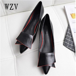 2018 Leather Flat Shoes pointed toe With low Woman Loafers Cowhide Spring Casual Shoes Women Flats Women Shoes B222
