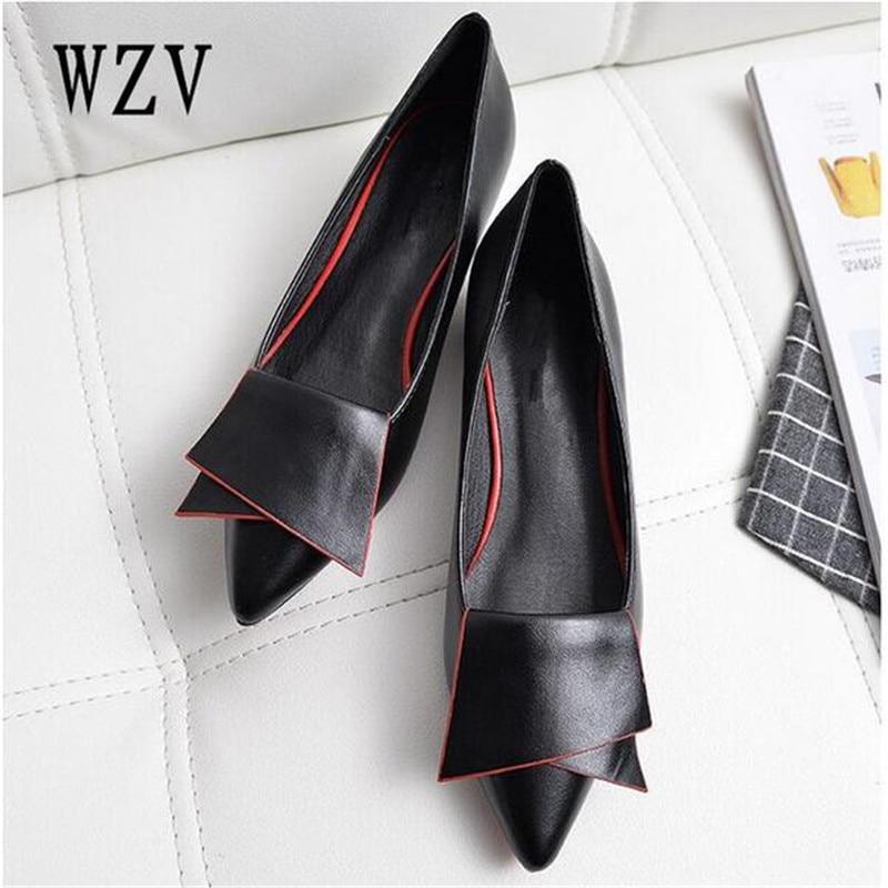 2018 zapatos planos de cuero del dedo del pie puntiagudo con baja mocasines de mujer de piel de vaca de primavera zapatos casuales zapatos de las mujeres planos de las mujeres zapatos de mujer zapatos B222