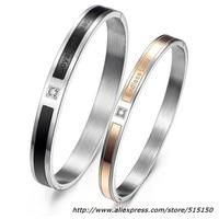 Weihnachtsgeschenk Fashion Liebhaber Armband Edelstahl Schwarz Rose Gold CZ Stein Paar Markiert