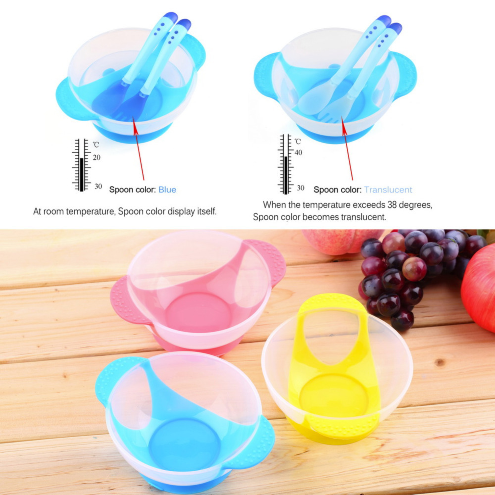 Baby Infants feeding Bowl With Sucker and Temperature Sensing Spoon Suction Cup Bowl Slip-resistant Tableware Set New