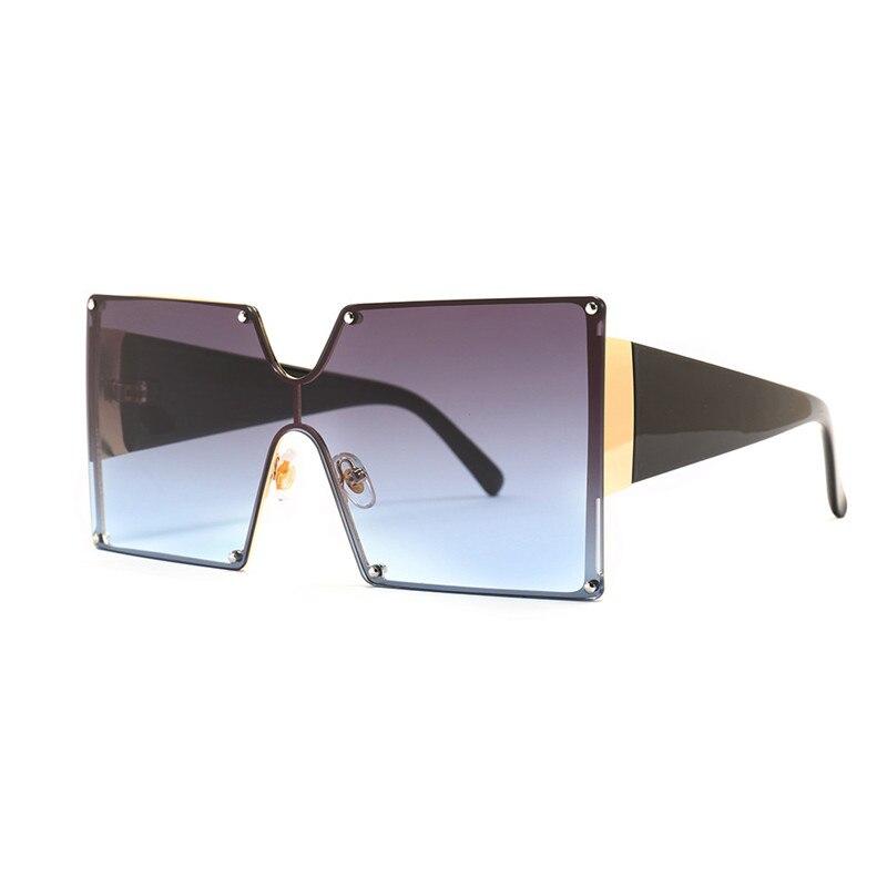 2019 Fashion Square Sunglasses Women Brand Designer Oversized Gradient Blue Black One Piece Sun Glasses New Style Shades UV400 2