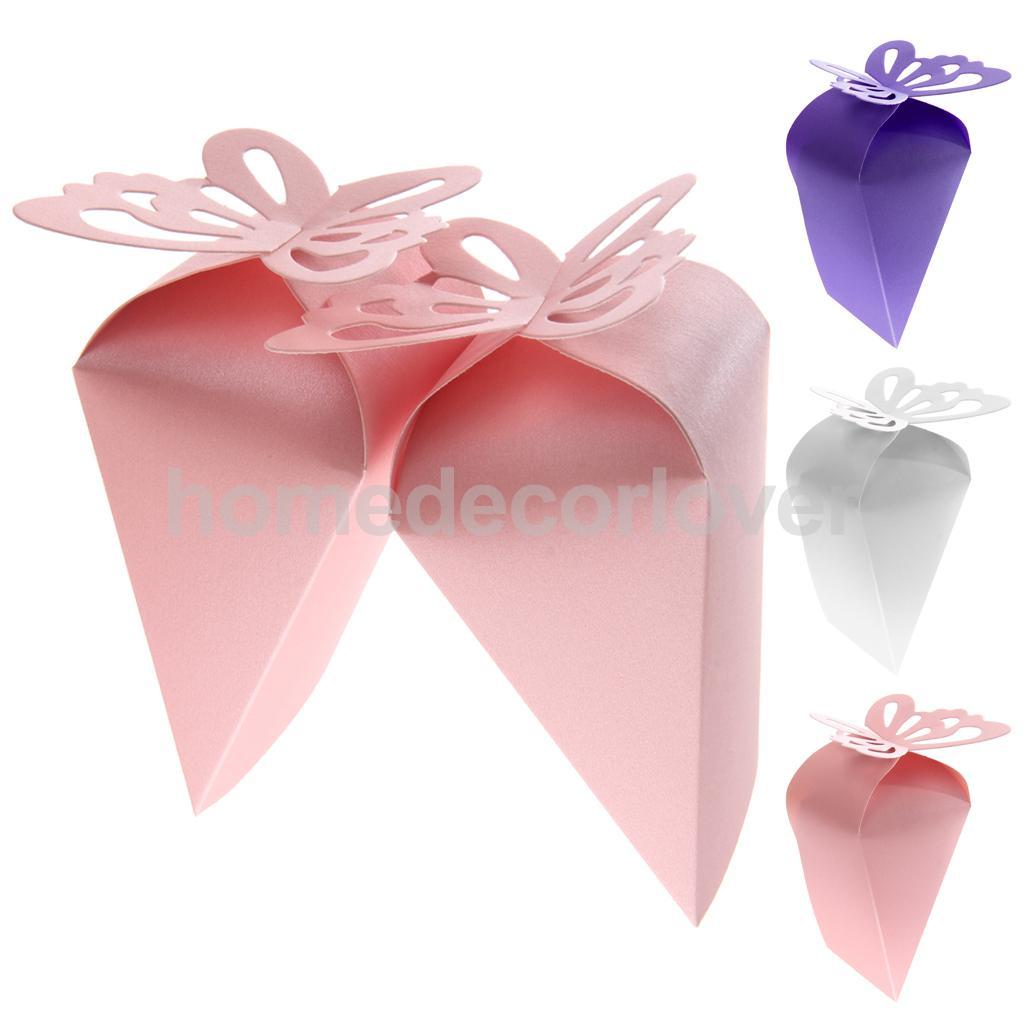 50PCS Triangle Cake Shape Butterfly Candy Gift Box Wedding Birthday ...