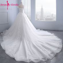 Beauty Emily White Wedding Dresses 2019 Sexy Beads Tulle Appliques Ball Gowns Bride Dress Long Custom made