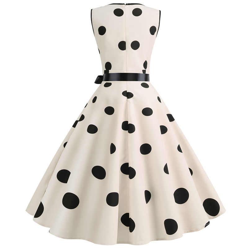 여성 여름 드레스 로브 오드리 헵번 50s 60s 로커 빌리 폴카 도트 보우 핀업 볼 자란 파티 드레스 플러스 사이즈 vestidos