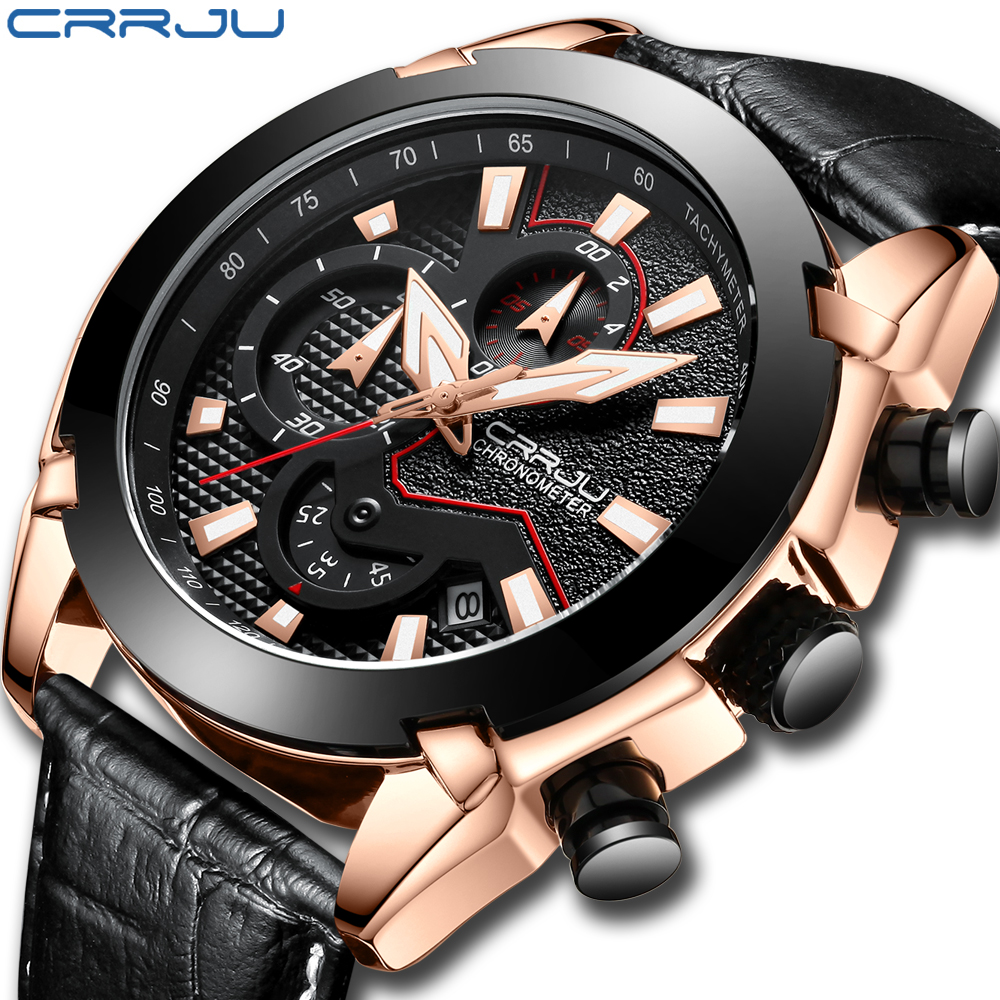 Mens Watch Leather Strap Luxury Brand 2018 CRRJU Chronograph Men's Sport Watches With Date Male Luminous Clock Montre Homme цена и фото