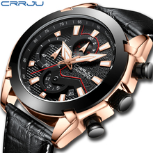 Mens Watch Leather Strap Luxury Brand 2018 CRRJU Chronograph Men s Sport Watches With Date Male