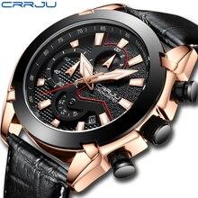 Montre Homme bracelet en cuir marque de luxe 2018 CRRJU chronographe hommes montres de Sport avec Date mâle lumineux horloge Montre Homme