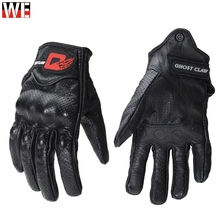 GHOST RACING Genuine Leather Motorcycle Gloves Motocross OFF Road Man Female Glove Motorbike Touch Screen Racing Safety