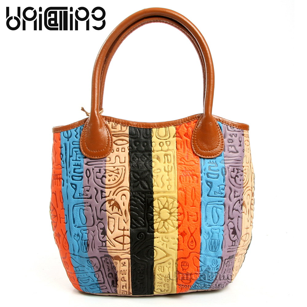 Fashion women handbag genuine leather colorful striped patchwork with ancient hieroglyphic embossing pattern leather tote bag fashion colorful striped pattern square shape pillowcase without pillow inner