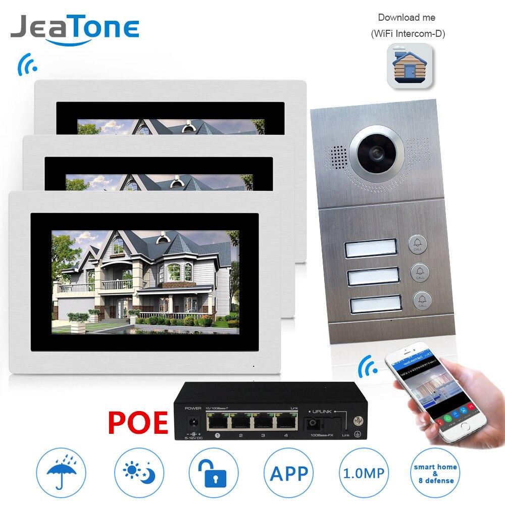 WIFI IP Telefone Video Da Porta Intercom Sistema de Vídeo Campainha 7 ''Tela Sensível Ao Toque para 3 Pisos Apartamento/8 Zona alarme Apoio Telefone Inteligente