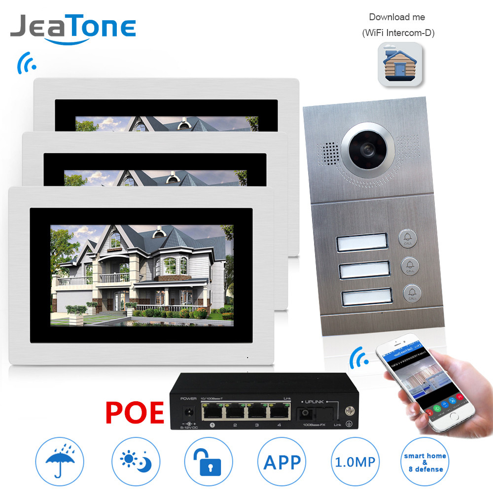 WIFI IP Video Telefono Del Portello Citofono Sistema di Video Campanello 7 ''Touch Screen per 3 Piani Appartamento/8 Zone supporto allarme Smart Phone