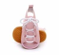 Yeni geldi yaz bebek gladyatör sandalet 10 renkler sıcak satış Pu deri bebek moccasins çocuk kauçuk taban dantel up bebek ayakkabıları|Sandaletler|   -