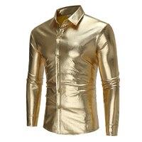 Brand 2018 Fashion Male Shirt Long Sleeves Tops Light Colored Shirt Personality Night Club Mens Dress
