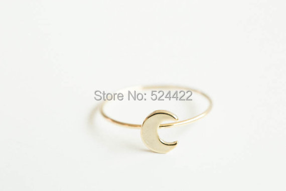 Min 1pc Unique Simple flat crescent moon knuckle Ring in Gold/silver/rosegold Si
