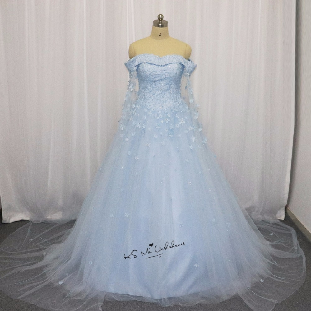 US $164.58 22% OFF|Blue Wedding Dress 2018 Vintage Vestido de Casamento  Flowers Beads Plus Size Wedding Gowns Turkey Bride Dresses Corset Back  Boda-in ...