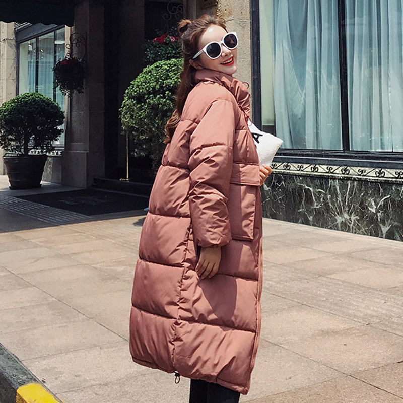 Fashion Women 2019 New Arrival Solid Slim Long New Size For Women's Cotton Slim Down Parka With Hooded Winter Jacket 8810(China)