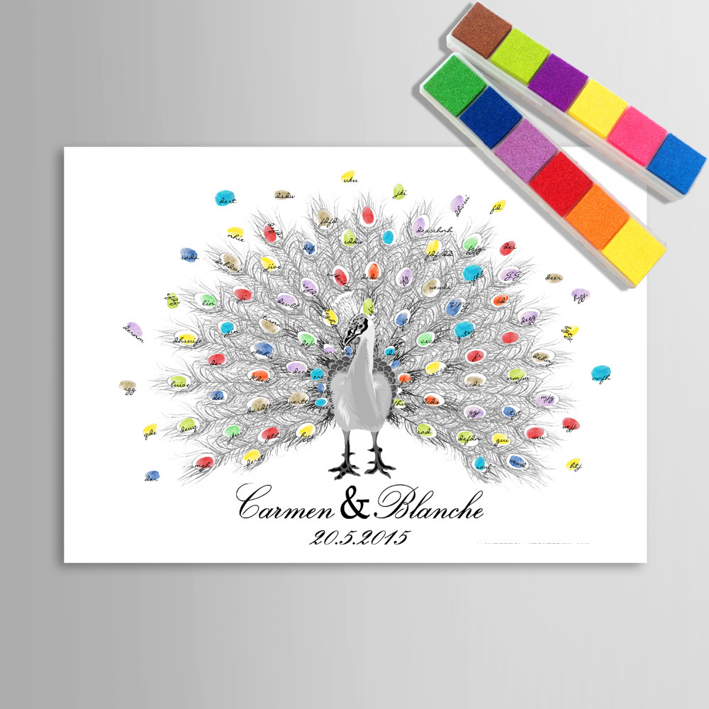 Peacock Wedding Gifts: Fingerprint Tree Signature Canvas Print Peacock Wedding