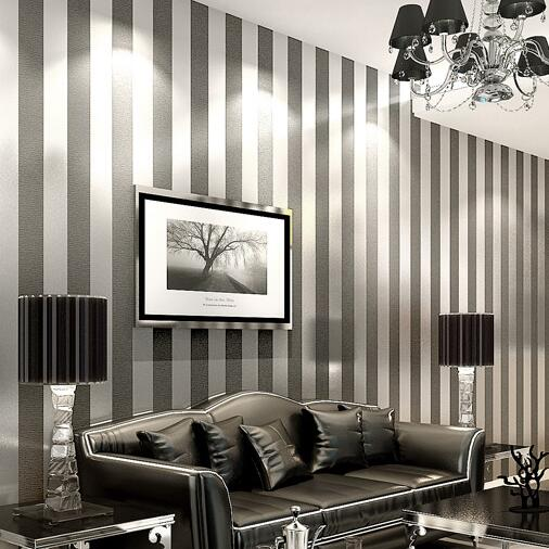 Free shipping modern 3d embossed strip wallpaper for for Grey striped wallpaper living room