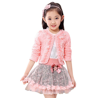 Children's clothing female child Spring 2018 girls lace dress child baby long sleeve lace skirt princess three pieces set