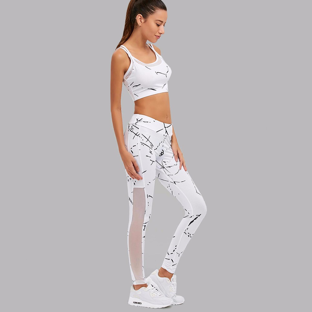 167749bf2 Las nuevas mujeres Fitness Stretch Sexy Patchwork Yoga juegos 2 piezas  deporte superior polainas deporte conjunto de entrenamiento gimnasio ropa  deportiva ...