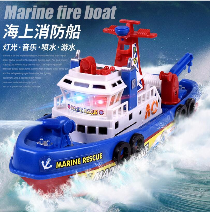 High Speed Music Light Electric Marine Rescue Fire Fighting Boat Non-remote Toy Electronic Boat U.s Fire Boat Auto Spray Water Convenient To Cook