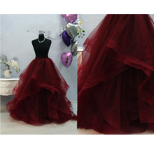 Formal Ruffles Puffy Long Wedding Tulle Skirts For Bridal Pretty Wine Red Women Tulle Skirt Photography Faldas Mujer Saias 2018