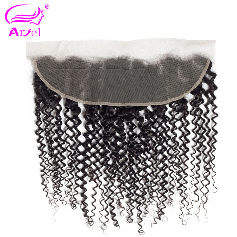 Ariel Closure Lace-Frontal Human-Hair Free-Part Curly Remy Kinky Natural-Color Brazilian