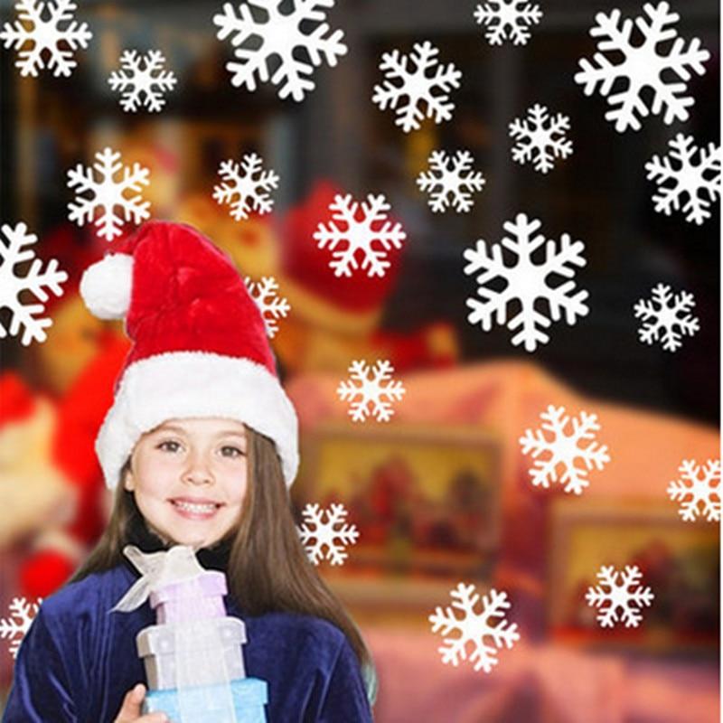 Navidad Pegatinas de pared Copos de nieve Etiqueta de Windows Gabinete de vidrio Año Nuevo Etiqueta de la pared Decoración del hogar Pegatinas de pared Papel tapiz