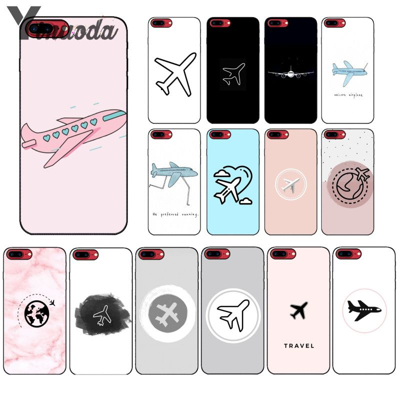 Yinuoda Simple lovely cartoon air plane TPU Soft  Accessories Cell Phone Case for iPhone 5 5Sx 6 7 7plus 8 8Plus X XS MAX XR