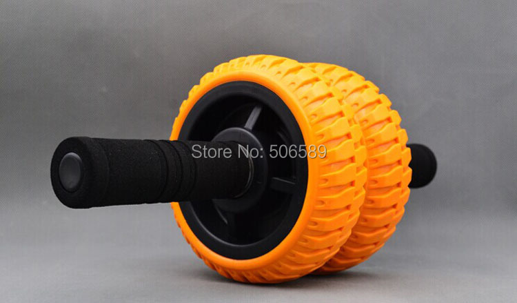 free shipping body building fitness double -wheeled Ab rollers LX06 handle 12 cm wheel 15 cm orange color blue color