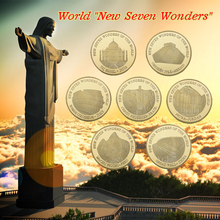 WR Seven Wonders Gold Plated Coin 7pcs World Golden Challenge with Case for Collectible Business Souvenir