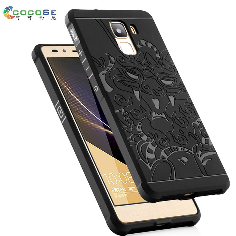Huawei Honor 7 silicon case luxury 3d carved dragon original COCOSE matte soft TPU Anti-knock phone back cover coque for Honor 7